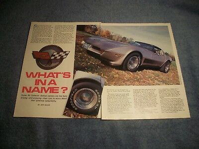 "1982 Chevy Corvette Sammler Edition Vintage Artikel "" What's In A Name ?"