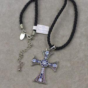 Lia sophia signed jewelry blue cut crystal cross pendant necklace image is loading lia sophia signed jewelry blue cut crystal cross aloadofball Choice Image