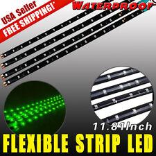 4x Green 12V 30CM 15-LED Car Motor Flexible Waterproof Strip LED Light Bulbs US