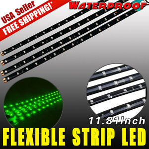 4x Green 12V 30CM 15-LED Car Motor Flexible Waterproof Strip LED Light Bulbs US