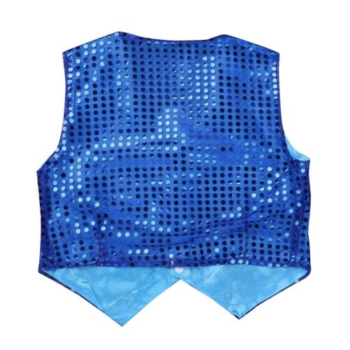 Boys Glittery Sequined Shirt Vest Jacket Waistcoat Costume for Prom Jazz Dance