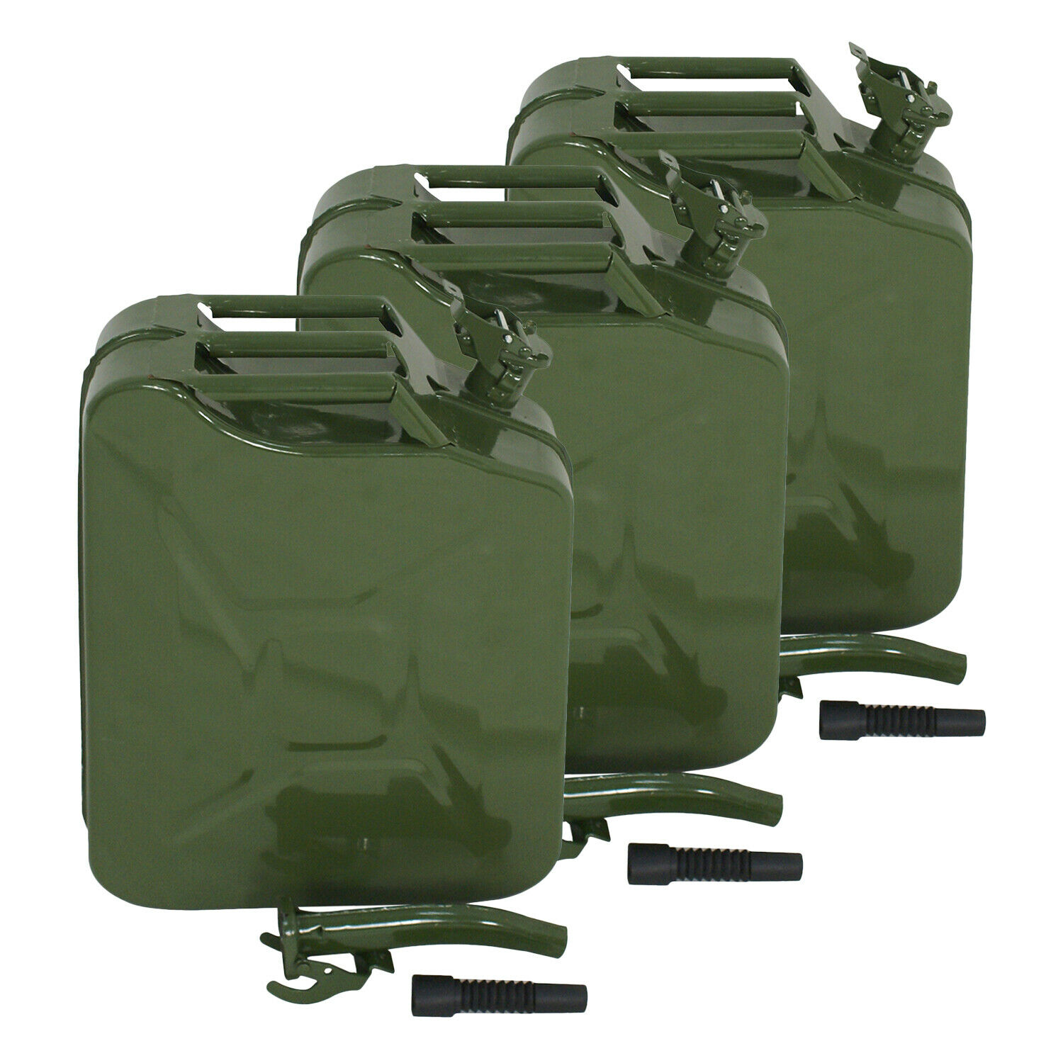 3X Jerry Can 5 Gallon 20L Gas Gasoline Fuel Army Army Backup Metal Steel Tank Business & Industrial