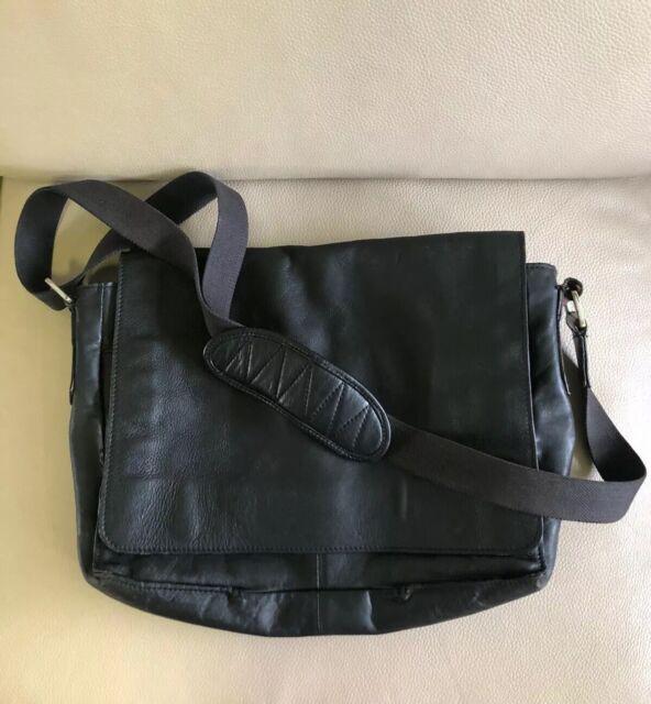 Mens 100% Genuine Leather Black Laptop Shoulder Satchel Business Work Bag Large