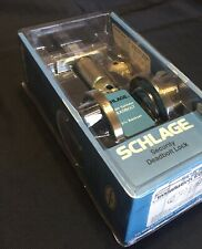 New In Box Schlage Antique Brass Single Cylinder Deadbolt B60NV609
