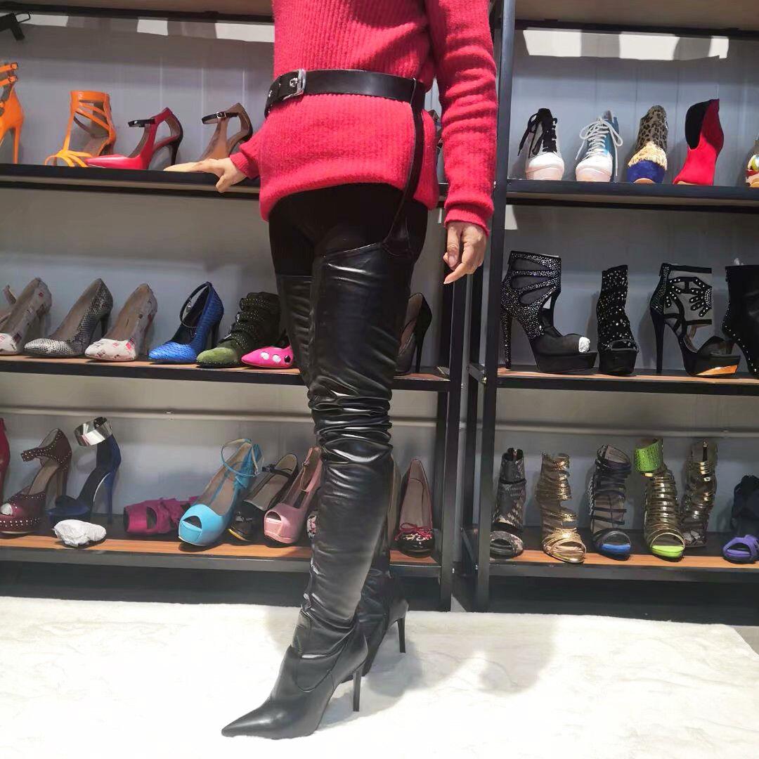 SUPER SEXY Women Thigh High Boots Heels Pants Boots shoes Women Big Size 4-15