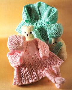 c9d2d3da5 Knitting Pattern - Aran Style Baby Crew V Neck Matinee Coat Bonnet ...