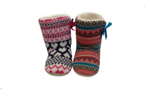 KIDS GIRLS INFANTS FLUFFY SOFT FUN COLOURFUL PULL-ON SLIPPER BOOTIES BOOTS SHOES