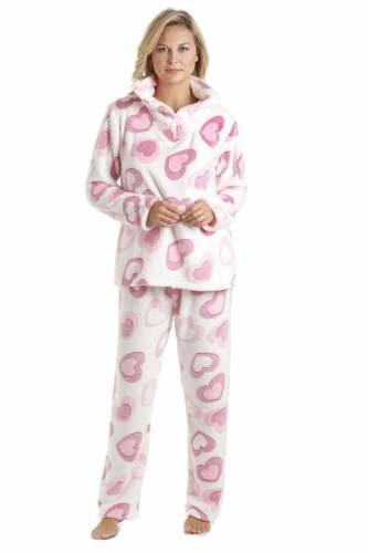 Camille Femme Nightwear Blanc Laine Polaire Cœur Rose Imprimé Pyjama Set