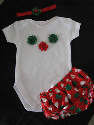 baby clothing girl romper bloomers nappy headband set christmas flowers size 00