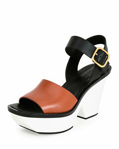 f260b4209d0 NWOB Marni Colorblock Leather Wedge Sandal in Black Brown White Size ...