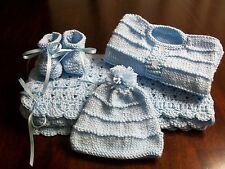 NEW Handmade Crochet Baby Blanket Afghan set ( blue )