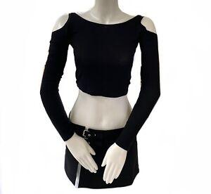 Garage 90s S Punk Goth Black cold shoulder crop Top Off The Shoulder Dolls Kill