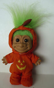 4 1 2 Russ Halloween Pumpkin Troll Green Hair With Tag On Foot Ebay