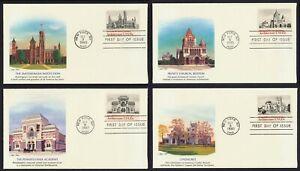 #1838-1841 15c Americano Arquitectura, Fleetwood FDC Cualquier 4=