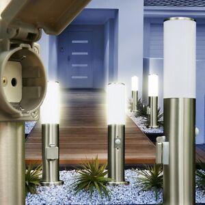 edelstahl au enstehleuchte mit steckdose bewegungsmelder wegeleuchte gartenlampe ebay. Black Bedroom Furniture Sets. Home Design Ideas