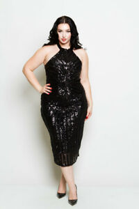 Details about PLUS SIZE SLEEVELESS BLACK SEQUIN SPARKLE LINED BODYCON MIDI  DRESS 1X 2X 3X