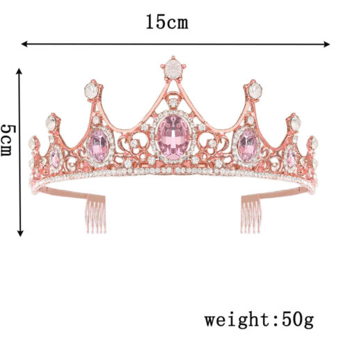 5cm High 3 Colors Crystal Princess Tiara Crown Combs Wedding Prom Party Pageant