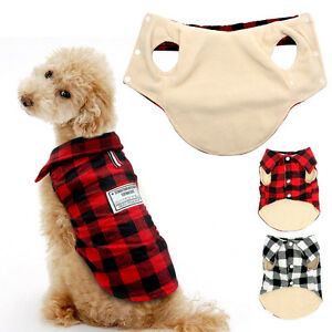 Plaid-Sweater-Dog-Clothes-Cotton-Padded-Pet-Dog-Jacket-Apparel-Black-Red-S-XXL