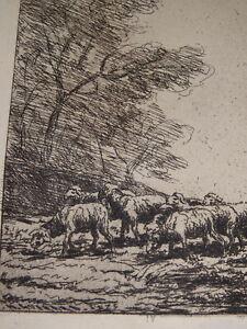 Henri-GUERARD-1846-1897-GRAVURE-ORIGINALE-CHATIMENT-VICTOR-HUGO-MOUTONS-BARBIZON