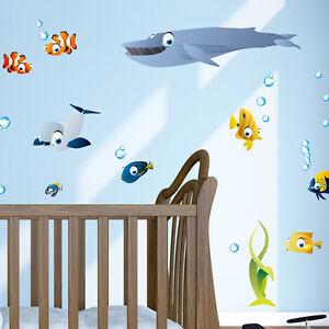 Wandkings-Ozean-Unterwasserwelt-Wandsticker-XL-Set-50-Aufkleber-130-x-70-cm