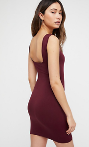 NEW Free People Intimately Seamless Square Neck Slip Dress Berry Sz XS//S $39.73