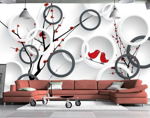 3D ROT Birds Trees 83 Wall Paper Murals Wall Print Wall Wallpaper Mural AU Kyra