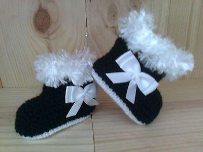 Bebé CHICAS / Muñecas Hand Knitted booties-black-premature, Nb, 0-3 Y 3-6 Y 6-9 Meses