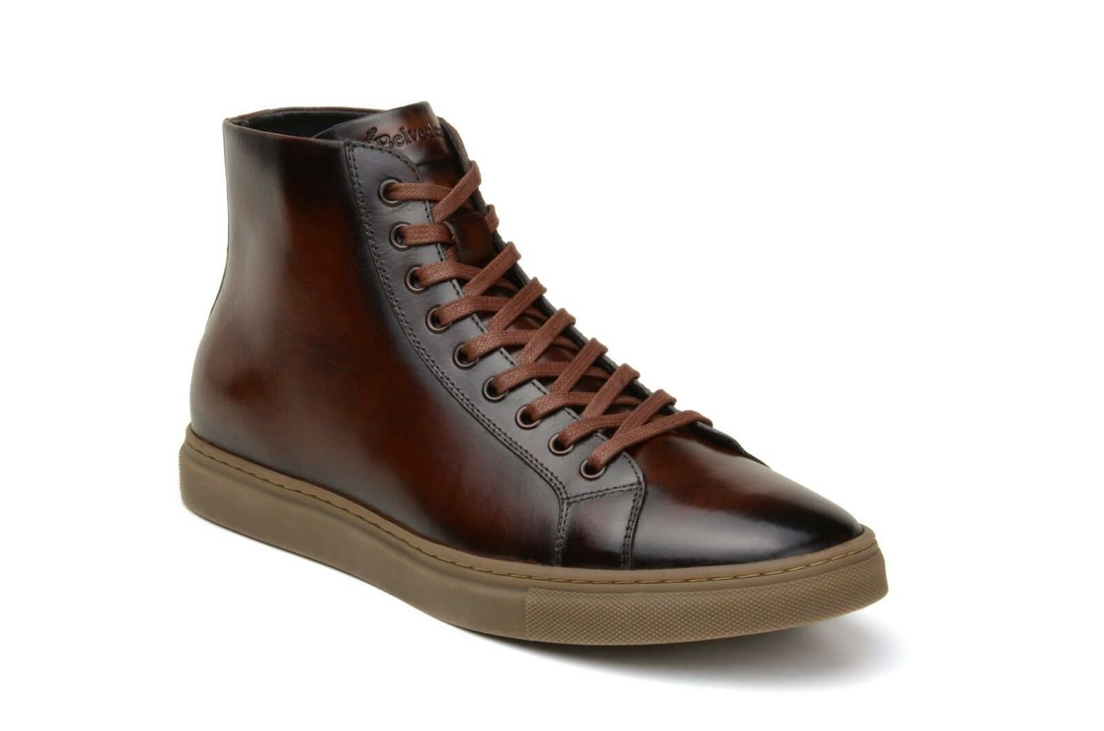 Belvedere New Exotic TurnschuheStiefel David Antique Cognac Leather Sporty High-top