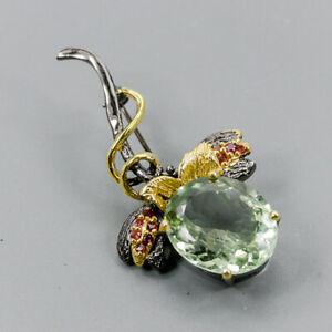 Vintage25ct-Natural-Green-Amethyst-925-Sterling-Silver-Brooch-NB07828