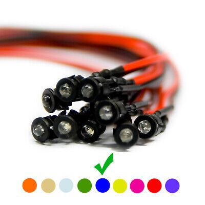 Details about  /20 X LED À Câble Diodes Plastique Support Filaire Bleu Clair Lentille 9V 5mm