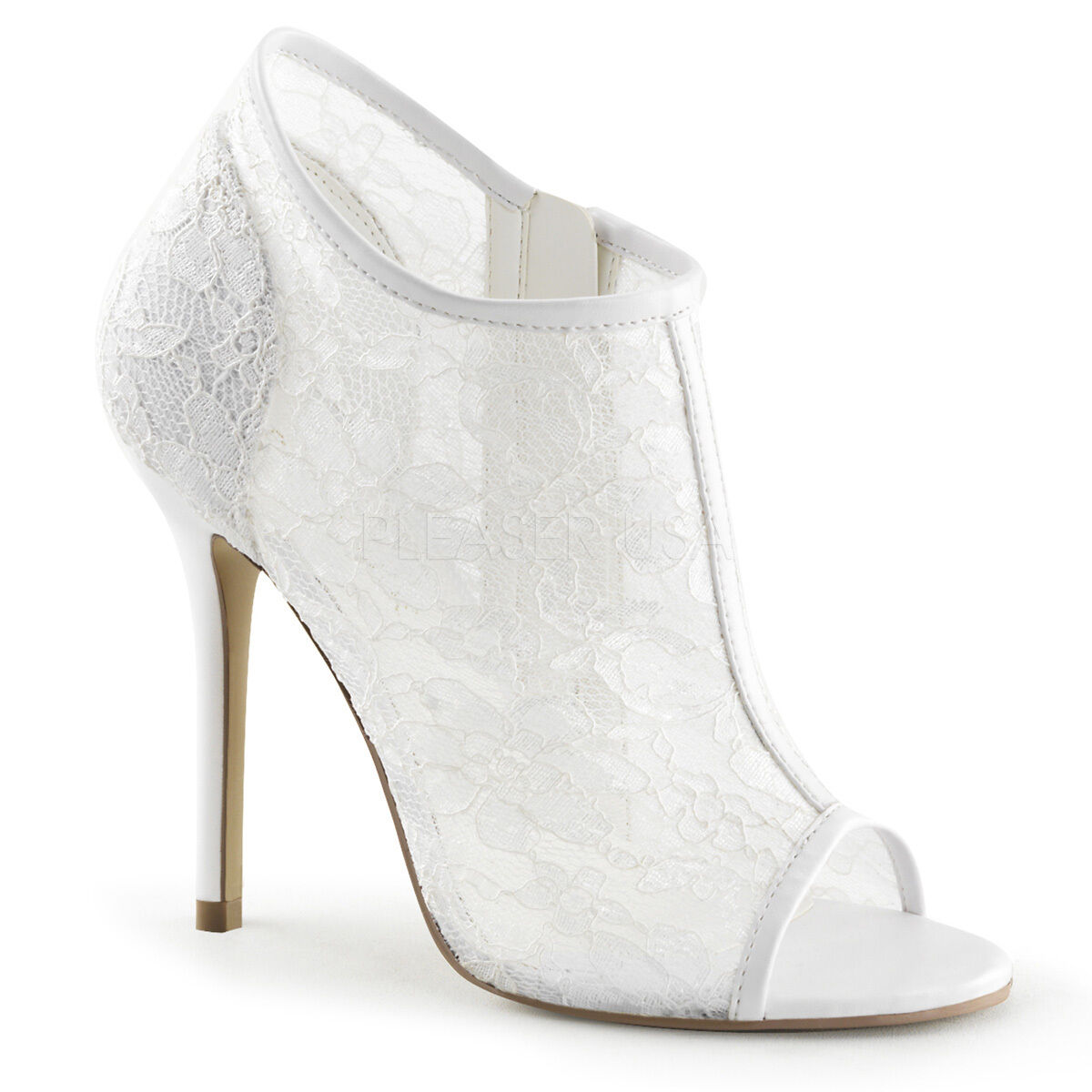 Ivory Off White Lace Vintage Wedding Bridal Shoes High Heels Womans size 13 14