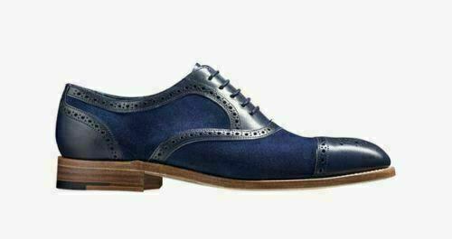 Homme Fait à la main Chaussures Tow tone bleu suede & Leather Oxford Bout D'Aile Formel démarrage NEW