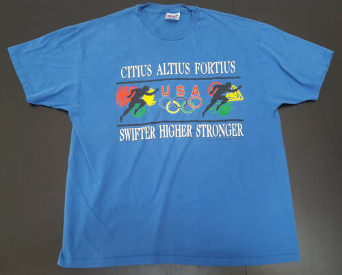 Vintage USA Olympics Swifter Higher Stronger graphic tshirt size