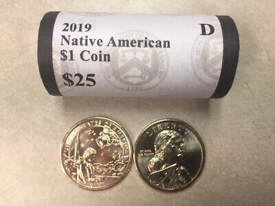 2019-P Sacagawea Native American in Space Dollars 25-Coin Mint Coin Roll