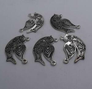 2pcs-Antique-silver-plated-nice-hollow-bird-charm-pendant-T0608