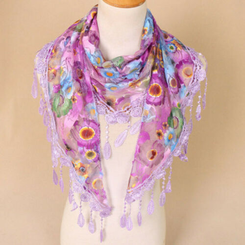 Women Ladies Lace Tassel Floral Multicolor Print Hollow Scarf Shawl Wrap  UK