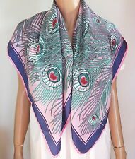 NWOT Authentic LIBERTY OF LONDON *HERA PEACOCK FEATHER* 100% Silk Scarf Foulard