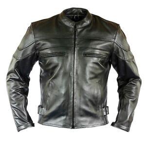 Herren-Motorrad-Lederjacke-Chopper-Biker-Jacke-Motorradjacke-mit-Protektoren