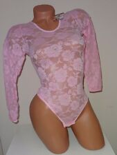 new pink sheer bodysuit S stretch top around the neck long sleeve thong leotard