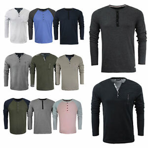Mens Designer Henley Style Collar Long Sleeve Top by Brave Soul ... f784ead575