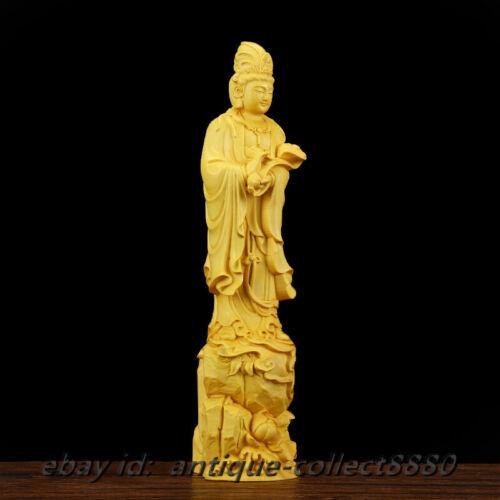 "8.3/""China Box-Wood HandCarved Kwan-yin Boddhisattva GuanYin Hold Ruyi Statue如意观音"