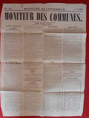 Net Journal Le Moniteur Des Communes Ministere De L'interieur N° 10 - 6 Mars 1856 Een Verrijkt En Voedingsstof Voor De Lever En De Nieren