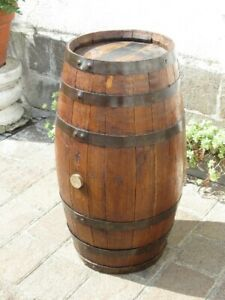 Vintage-Rare-Barrel-Wood-amp-Iron-Container-Popular-Rural-Marsala