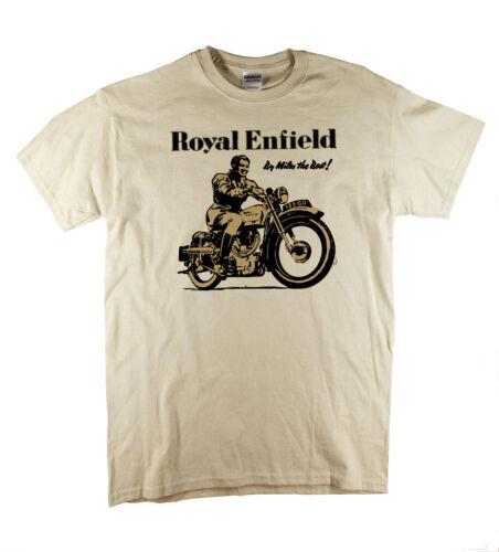 Royal Enfield Retro Print Biker Motorcycle Vintage Motorbike Natural T-Shirt