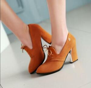 Womens-High-Block-Heels-Shoes-Lace-Up-Metal-Suede-Pumps-Pointy-Toe-Fashion-35-43