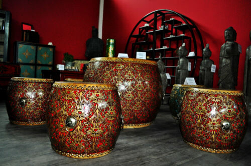 Chinois table tabouret tambour Table Tambour Tabouret 3 sitztrommeln rouge turquoise