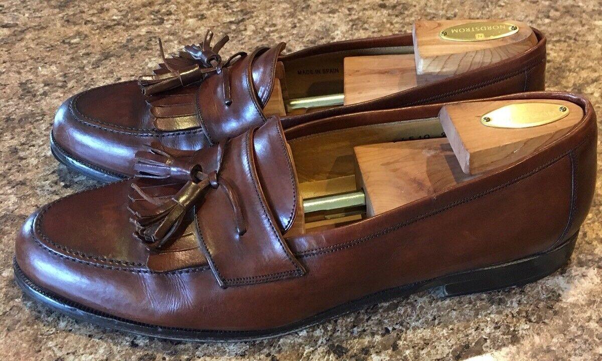 MEZLAN SANTANDER Mens 10M Brown Tassel Fringe Loafers shoes