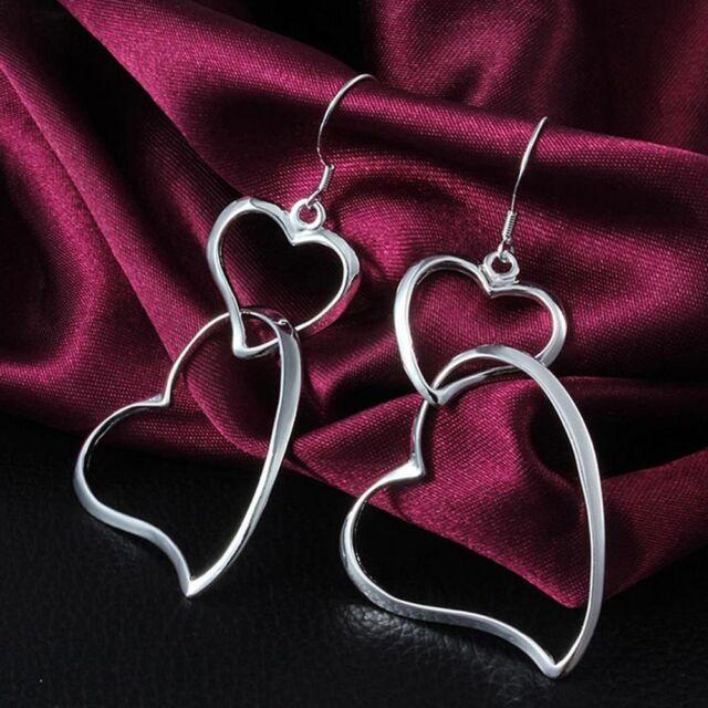 Piercing Double Heart Silver Earrings Double Heart Post Dangle Lovely Earrings