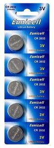 75-x-CR2032-3V-Lithium-Knopfzelle-210-mAh-15-Blistercards-a-5-Batterien-Eunicell