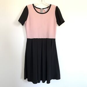 cc6b3586e99 Image is loading Lularoe-Amelia-Dress-Pink-Black-Pleated-Skirt-Size-